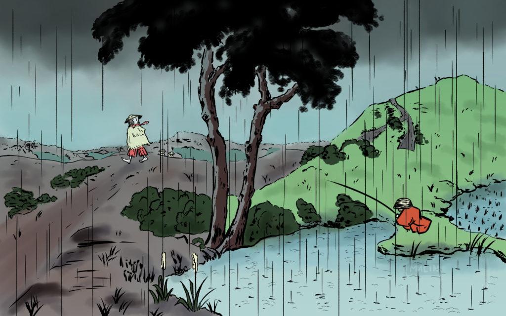 paysage avec 2 arbres sous la pluie et 2 hommes, l'un pêchant dans un lac, l'autre marchant sur un sentier